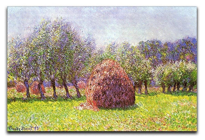 Heap of hay in the field by Monet Canvas Print or Poster