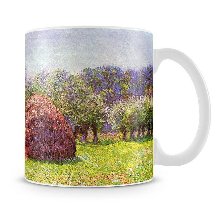 Heap of hay in the field by Monet Mug