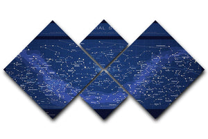 High detailed star map with names of stars contellations 4 Square Multi Panel Canvas  - Canvas Art Rocks - 1