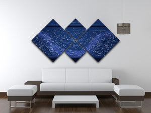 High detailed star map with names of stars contellations 4 Square Multi Panel Canvas - Canvas Art Rocks - 3