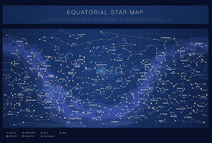 High detailed star map with names of stars contellations Wall Mural Wallpaper - Canvas Art Rocks - 1
