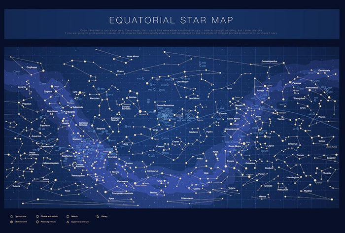 High detailed star map with names of stars contellations Wall Mural Wallpaper