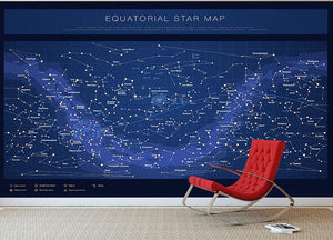 High detailed star map with names of stars contellations Wall Mural Wallpaper - Canvas Art Rocks - 2