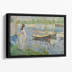 His embankment at Argenteuil by Manet Floating Framed Canvas
