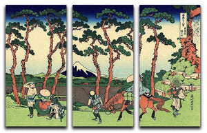Hodogaya on the Tokaido by Hokusai 3 Split Panel Canvas Print - Canvas Art Rocks - 1