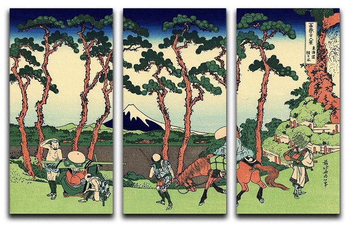 Hodogaya on the Tokaido by Hokusai 3 Split Panel Canvas Print