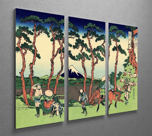Hodogaya on the Tokaido by Hokusai 3 Split Panel Canvas Print - Canvas Art Rocks - 2