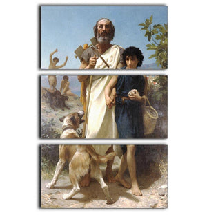 Homer and his Guide 1874 By Bouguereau 3 Split Panel Canvas Print - Canvas Art Rocks - 1