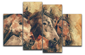 Horse Painting 4 Split Panel Canvas  - Canvas Art Rocks - 1