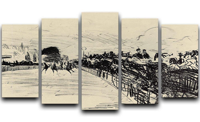 Horse racing by Manet 5 Split Panel Canvas
