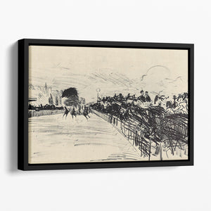 Horse racing by Manet Floating Framed Canvas