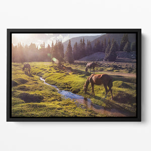 Horses in the Gregory gorge mountains Floating Framed Canvas - Canvas Art Rocks - 2