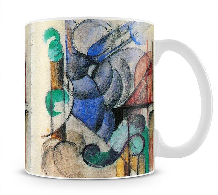 House in abstract landscape by Franz Marc Mug