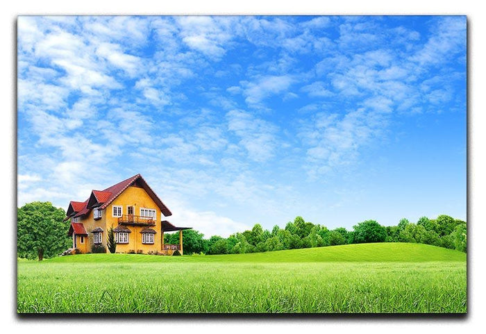 House on green field Canvas Print or Poster