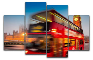 Houses Of Parliament red double-decker bus 4 Split Panel Canvas  - Canvas Art Rocks - 1