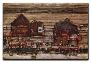 Houses with laundry lines and suburban by Egon Schiele Canvas Print or Poster - Canvas Art Rocks - 1