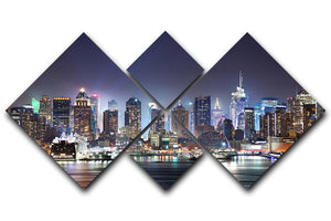 Hudson River with refelctions 4 Square Multi Panel Canvas  - Canvas Art Rocks - 1