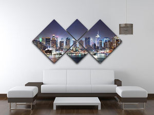 Hudson River with refelctions 4 Square Multi Panel Canvas  - Canvas Art Rocks - 3
