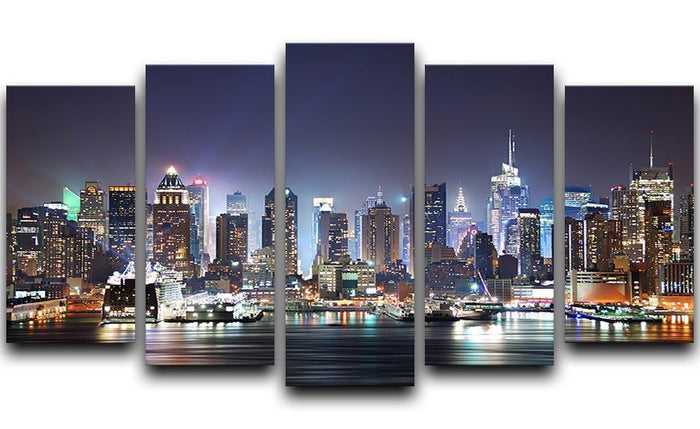 Hudson River with refelctions 5 Split Panel Canvas