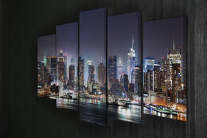 Hudson River with refelctions 5 Split Panel Canvas  - Canvas Art Rocks - 2