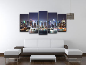 Hudson River with refelctions 5 Split Panel Canvas  - Canvas Art Rocks - 3