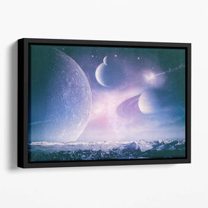Ice world and planets Floating Framed Canvas