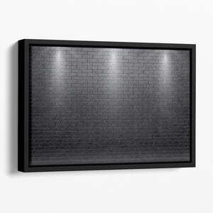Illustartion of brick wall black Floating Framed Canvas - Canvas Art Rocks - 1