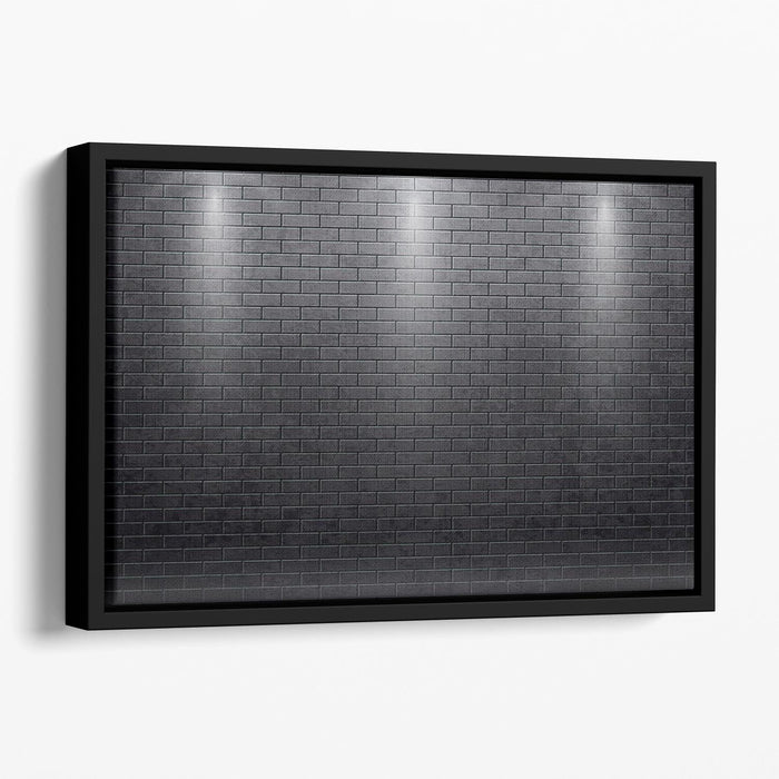 Illustartion of brick wall black Floating Framed Canvas
