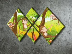 Illustration of a monkey in a jungle 4 Square Multi Panel Canvas - Canvas Art Rocks - 2