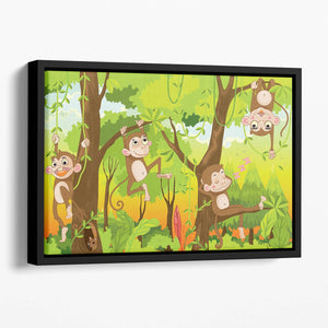Illustration of a monkey in a jungle Floating Framed Canvas