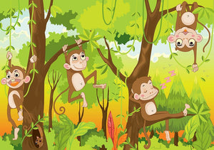 Illustration of a monkey in a jungle Wall Mural Wallpaper - Canvas Art Rocks - 1