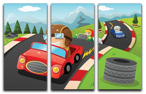 Illustration of happy kids in a car racing 3 Split Panel Canvas Print - Canvas Art Rocks - 1