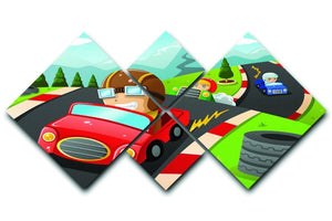 Illustration of happy kids in a car racing 4 Square Multi Panel Canvas  - Canvas Art Rocks - 1