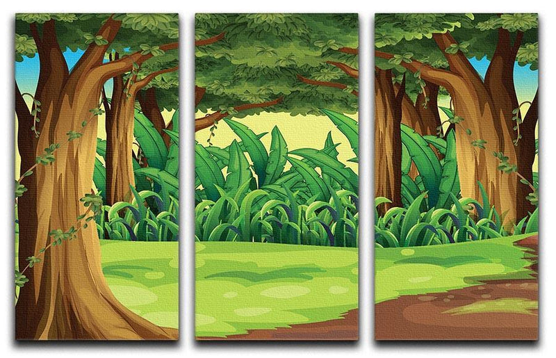 Illustration of the giant trees in the forest 3 Split Panel Canvas Print - Canvas Art Rocks - 1