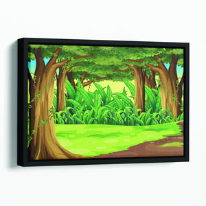 Illustration of the giant trees in the forest Floating Framed Canvas