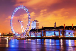 Ilumination of the London Eye Wall Mural Wallpaper - Canvas Art Rocks - 1