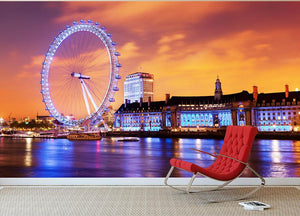 Ilumination of the London Eye Wall Mural Wallpaper - Canvas Art Rocks - 2