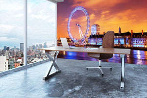 Ilumination of the London Eye Wall Mural Wallpaper - Canvas Art Rocks - 3