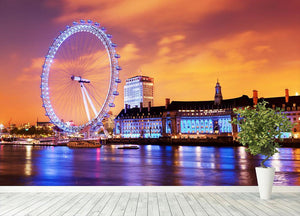 Ilumination of the London Eye Wall Mural Wallpaper - Canvas Art Rocks - 4
