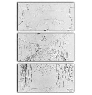 Image of a girl with a big hat by Klimt 3 Split Panel Canvas Print - Canvas Art Rocks - 1