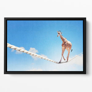 Image of giraffe walking on rope high in sky Floating Framed Canvas - Canvas Art Rocks - 2