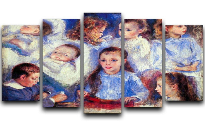 Images of childrens character heads by Renoir 5 Split Panel Canvas