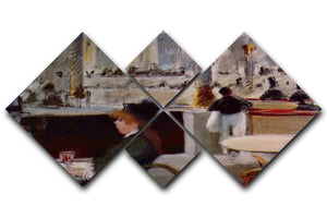 In Cafe 1 by Manet 4 Square Multi Panel Canvas  - Canvas Art Rocks - 1