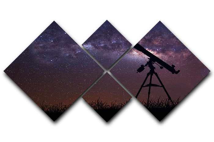 Infinite space background with silhouette of telescope 4 Square Multi Panel Canvas