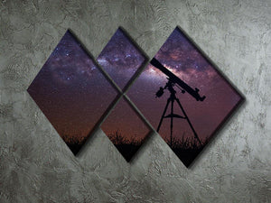 Infinite space background with silhouette of telescope 4 Square Multi Panel Canvas - Canvas Art Rocks - 2