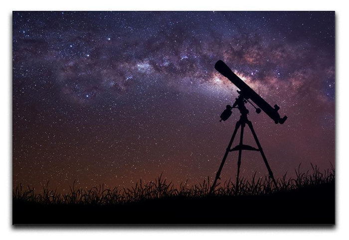 Infinite space background with silhouette of telescope Canvas Print or Poster