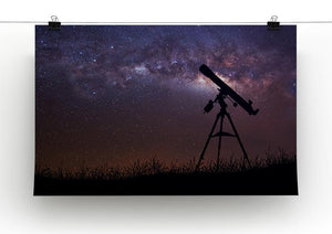 Infinite space background with silhouette of telescope Canvas Print or Poster - Canvas Art Rocks - 2