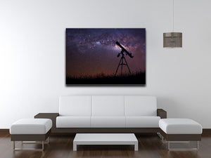 Infinite space background with silhouette of telescope Canvas Print or Poster - Canvas Art Rocks - 4