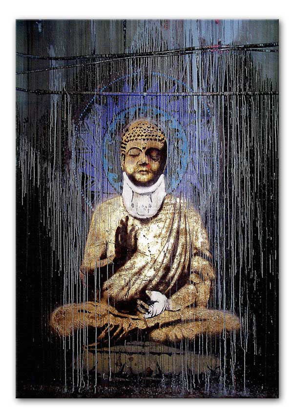 Banksy Injured Buddha Print - Canvas Art Rocks - 1