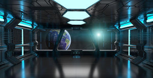 Inside a Spaceship Wall Mural Wallpaper - Canvas Art Rocks - 1